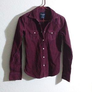 XS cranberry corduroy blouse snap front